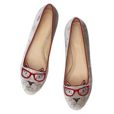 CLEVER KITTY by Charlotte Olympia. It's all about specs-appeal in these Clever Kitty flats, in soft mink velvet with red leather finishings.