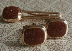 Vintage Sandstone Cufflinks and Tie Clip Set ~ #Vintage #MensStyle #Jewelry #Fashion #Style ~ by StarliteVintageGems ~ SOLD