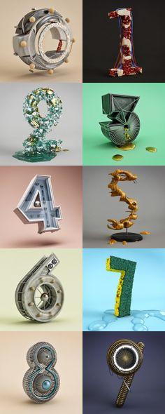 type design & typography Los Numeros on Behance.  Type design