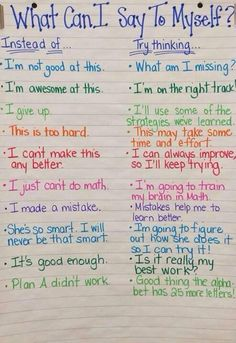 "File this under Growth MIndset tools! This is a wonderful anchor chart. Perhaps one of the few times I might include the ""what not to do"" when coaching, teaching or modeling! Self-coaching is a great tool to prepare the mind for the journey ahead. Book Study, School Counseling, Elementary School Counselor, Group Counseling, Social Skills, Social Work, Anchor Charts, Classroom Management, Behavior Management"