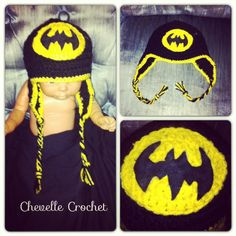 Baby batman crochet hat