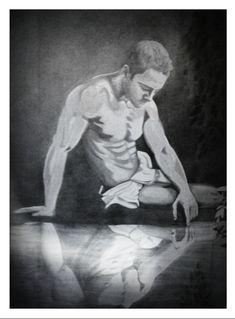 """""""Нарцисс"""" - портрет карандашом 70x55"""