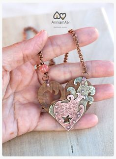 statement metal and wood heart necklace  rustic by AnniamAeDesigns #HEPTEAM