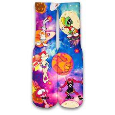 Space Jam Customize Elite Socks by CustomizeEliteSocks on Etsy https://www.etsy.com/listing/213111840/space-jam-customize-elite-socks
