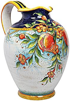 Majolica Pitcher Pomegranate Glazes For Pottery, Ceramic Pottery, Pottery Art, Painted Vases, Hand Painted Ceramics, China Painting, Ceramic Painting, Italian Pottery, Ceramic Pitcher