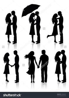 Different Silhouettes Of Couples. Stock Vector Illustration 36346552 : Shutterstock