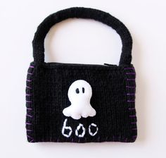 Ghost Coin Purse Black Knitted Purse Spooky Coin by KnitPeddler