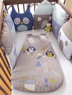 Tour de lit modulable bébé thème T'hibou - BLEU - 1