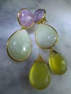 Ohrstecker - Amethyst Ohrstecker Gold Jade Serpentin Ohrringe - ein Designerstück von TOMKJustbe bei DaWanda