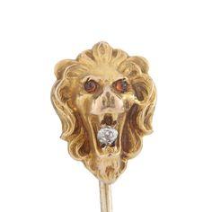 Stick pin stickpin antique vintage Lion head   Diamond gold   old mine cut diamond   10 kt   Victorian   citrine eyes   1800's by DavidJThomasJewelry on Etsy
