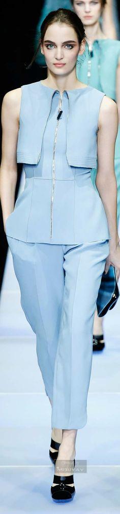 Giorgio Armani ~ Fall Sleeveless Zipper Front Top w Pant, Light Blue 2015.
