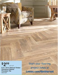 "6"" x 24"" Natural Timber Cinnamon Glazed Porcelain Tile #351024 @ Lowes"