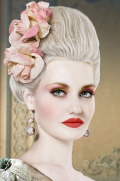 Mary Antoinette inspired hair and makeup. Simply love it. ❤️
