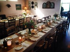 Wedding tables at Osteria la Civetta, steps from the Palmer House Inn, in Falmouth, Cape Cod.