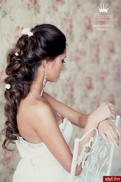wedding hairstyles curls tied back with woven flowers Romantic Wedding Hair, Long Hair Wedding Styles, Wedding Hair And Makeup, Long Hair Styles, Bridal Hair Down, Bridal Updo, Bride Hairstyles, Pretty Hairstyles, Hairstyle Wedding