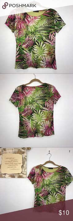 """Brittany Black Pink Green Black Floral Top M Brittany Black black, green and pink Floral top. Lying flat, approximate measurements are: bust 18""""; waist 17""""; hip 18""""; length 22.5"""". (H01-16) Brittany Black Tops"""
