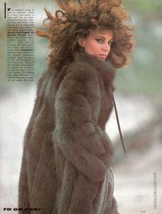 "early 80's fox fur coat. ""Fur…"", Vogue US, September 1981 Photographer : Marco Glaviano Model : Lisa Berkley"
