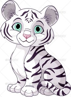 Illustration of Cute white tiger cub vector art, clipart and stock vectors.