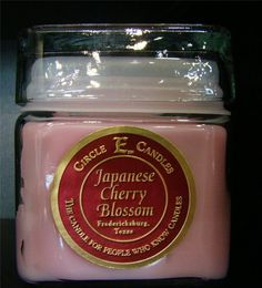 NEW CIRCLE E CANDLE JAPANESE CHERRY BLOSSOM 12 oz JAR 78 HOURS BURN TIME FLORAL #CircleE