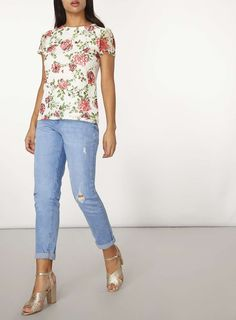 Womens Ivory Rose Print Lace T-Shirt- White