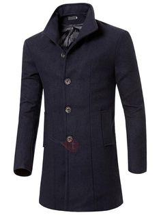 AdoreWe - TideBuy Single-Breasted Plain Mens Medium Style Coat - AdoreWe.com