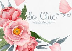 Watercolor clipart, Peony, flower clipart, wedding clip art, pink flower clipart, digital clipart, hand painted, floral clipart, invitation by WatercolorNomads on Etsy https://www.etsy.com/listing/246719377/watercolor-clipart-peony-flower-clipart