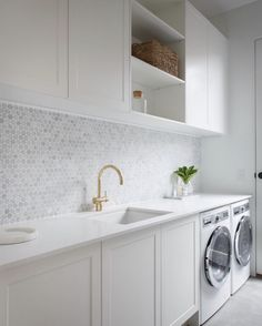 modern laundry room design, modern laundry room organization, laundry room cabinets with sink and open shelves and tile floor, laundry in mudroom design Laundry Room Cabinets, Laundry Room Organization, Laundry In Bathroom, Laundry Closet, Diy Cabinets, Laundry Storage, Shaker Cabinets, Bathroom Cabinets, Laundry In Kitchen
