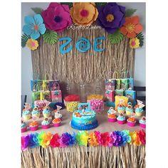 Aaya's birthday Moana Aloha Party, Luau Party, Hawaiian Birthday, Luau Birthday, 3rd Birthday Parties, Birthday Ideas, Moana Birthday Party Theme, Moana Themed Party, Moana Birthday Decorations
