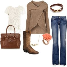Love the feminine, casual yet stylish look of this. Top, sweater, jeans, bag- like all of it.