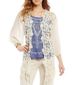 Available at Dillards.com #Dillards Blu Pepper, Crochet Cardigan, Dillards, Cover Up, Tunic Tops, Stuffed Peppers, Cotton, Clothes, Natural