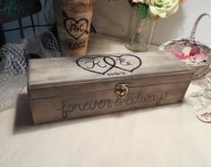 Beautiful Rustic, Love Letter Wine Box , hand painted and distressed with intertwined hearts, which will be perfect for wine ceremony,