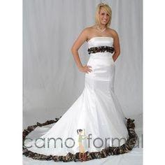 Mermaid Wedding Gown with Ruffled Camo Trim