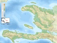 Me parece interesante la opción de utilizar el contorno del mapa de Haití como un elemento del cartel.