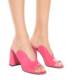 Shop Patent leather mules presented at one of the world's leading online stores for luxury fashion. Leather Mules, Patent Leather, Pink Mules, Leather Midi Skirt, Rubber Sandals, See By Chloe, Leather Crossbody Bag, Wedge Sandals, Heeled Mules