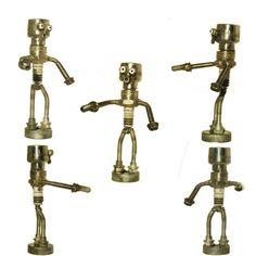 SALE Robot Spark Plug Metal Sculpture Re Purposed by EFaceDesigns, $40.00
