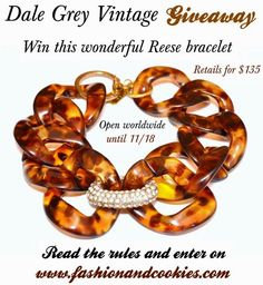 Dale Grey Vintage Giveaway, Reese bracelet $135, vintage tortoise shell bracelet, Fashion and Cookies