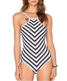 Trendy Black and White Chevron Printed Hollow Out One-Piece Swimwear For Women One-Pieces   RoseGal.com Mobile