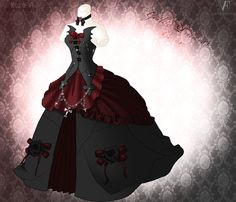 Gothic Princess Gown by Neko-Vi on DeviantArt Anime Outfits, Cute Outfits, Gothic Gowns, Vampire Dress, Pregnant Wedding Dress, Royal Dresses, Dress Drawing, Lolita, Steampunk Costume
