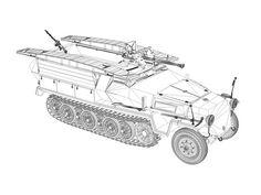 Sd.Kfz.251 / 7 Ausf.C - Hanomag Pionier panzerwagen - Véhicule d'assault du génie avec des rampes sur les cotés ,pour construire un pont d'assaut...