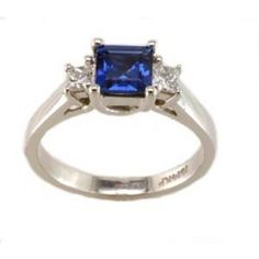 Diamond and sapphire ring with princess 0.25ct tdw and 5.5mm square sapphire in 14k white gold
