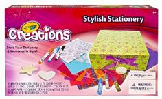 Crayola Creations Stylish Stationery Box by Crayola. $14.69. Add glitter effects. Hours of creative fun. Style up your desk or room. Great for storing your stationery. Decorate your very own stationery box. From the Manufacturer                Crayola Stylish Stationery Box allows kids to style up their desk or room. Use it 2 ways store your stylish staionery or use it as a keepsake box.                                    Product Description                Store your sta...