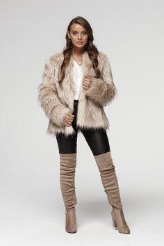 This fur is eco! Quality Here Short Faux Fur Jacket, Fake Fur, Fur Coat, Beige, Jackets, Collection, Fashion, Moda, Fur Coats