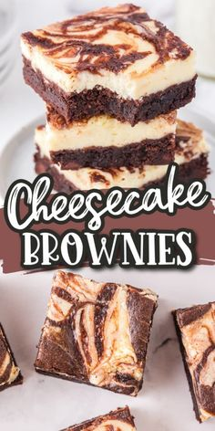 These Cheesecake Brownies have a gooey chocolate brownie base that's finished off with a marbled creamy cheesecake topping. They are easy to put together in under an hour, and the unique combination of two classic dessert flavors is always a hit! Quick Easy Brownies, Quick Easy Desserts, Just Desserts, Delicious Desserts, Dessert Recipes, Unique Desserts, Chocolate Cheesecake Brownies, Cheesecake Desserts, Brownie Cake