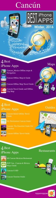 Cancún iPhone apps: Travel Guides, Maps, Transportation, Biking, Museums, Parking, Sport and apps for Students.