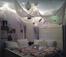 bedroom canopy lights #tumblr rooms #fairy light | diy home decor ...