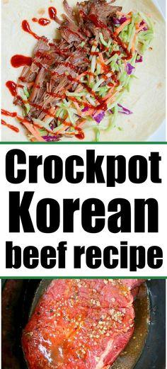 Crockpot Korean beef using a roast or chuck roast in your slow cooker. #crockpotkoreanbeef #slowcookerkoreanbeef #koreanbeef Korean Beef Recipes, Slow Cooker Korean Beef, Beef Recipes For Dinner, Asian Recipes, Crockpot Beef Tacos, Crock Pot Tacos, Crockpot Recipes, Easy Family Meals, Easy Meals