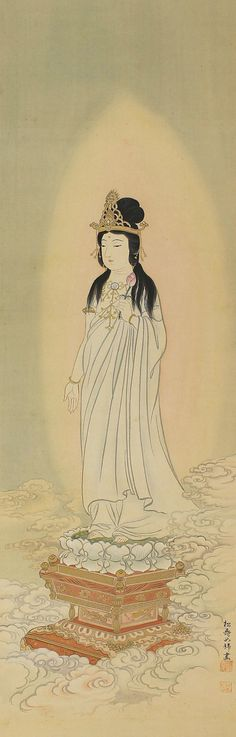 White-Robed Guanyin Bodhisattva. Japanese Hanging Scroll Painting. Kakejiku