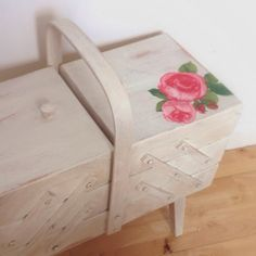 Upcyled Cantilever Sewing Box.......from orange pine to shabby chic.
