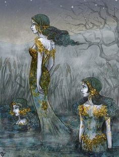 The GWRAGEDD ANNWN [wives of the underworld]were lake-sirens in Wales. These lovely creatures are known to choose mortal men as their husbands. One legend has it that they live in a sunken city in one of the many lakes in Wales. People claim to have seen towers under water and heard the chiming of bells. In earlier times, there used to be a door in a rock and those who dared enter through it came into a beautiful garden situated on an island in the middle of a lake.