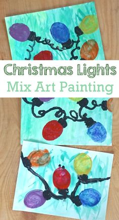 Cookie Cutter: Christmas Lights Painting - super easy way to paint Christmas lights with watercolors and paint - 3Dinosaurs.com #chirstmasart #christmaslights #paintingforkids #3dinosaurs #mixedart Watercolor Christmas Tree, Christmas Paintings, Christmas Activities For Kids, Christmas Printables, Light Painting, Painting For Kids, Christmas Lights, Christmas Fun, Painting Activities